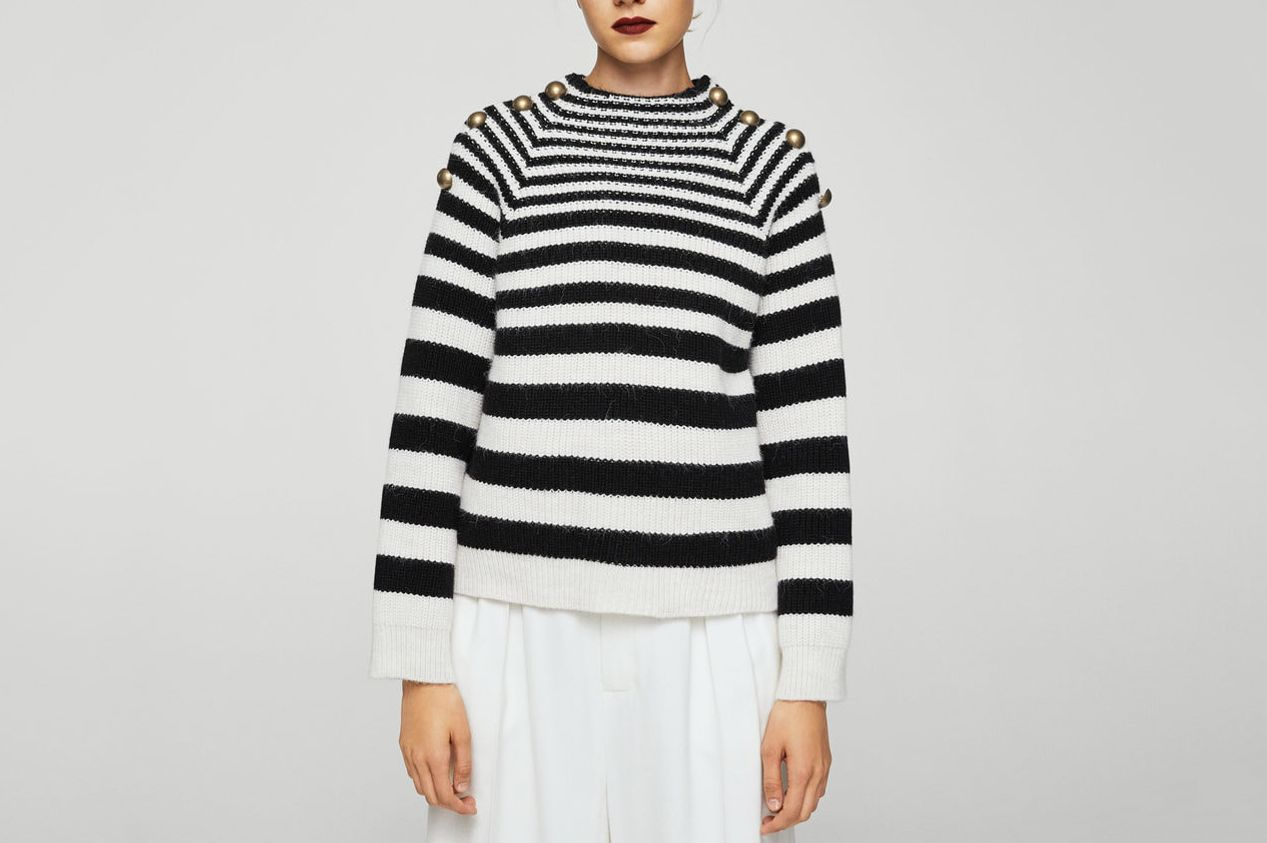 Mango Buttoned Striped Sweater