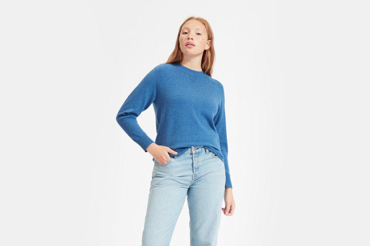 Everlane Cashmere Shrunken Sweatshirt, Heather Blue