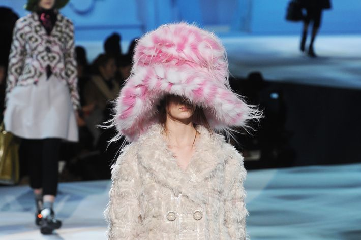 That's Hailey under that big pink fluffy hat.