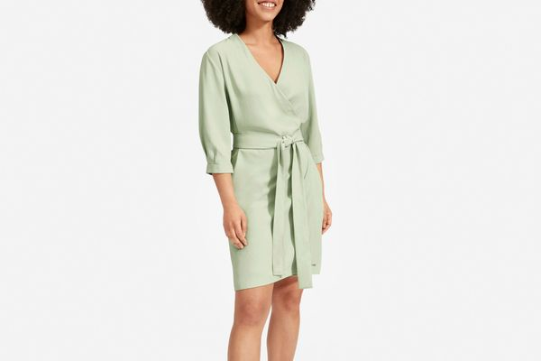 Everlane Long-Sleeve Mini Wrap Dress