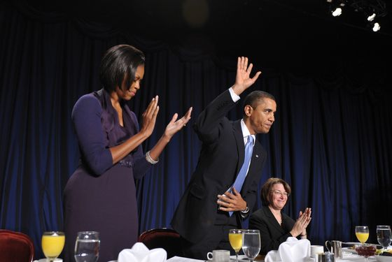 US President Barack Obama acknowledges applause after speaking at the 58th US National Prayer Breakfast February 4, 2010 at a hotel in Washington, DC.