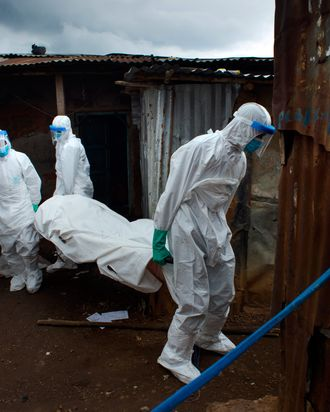Members of a burial team remove the body of a 30-year-old man from the Race Course area in Freetown, Sierra Leone, on Tuesday, November 25, 2014.