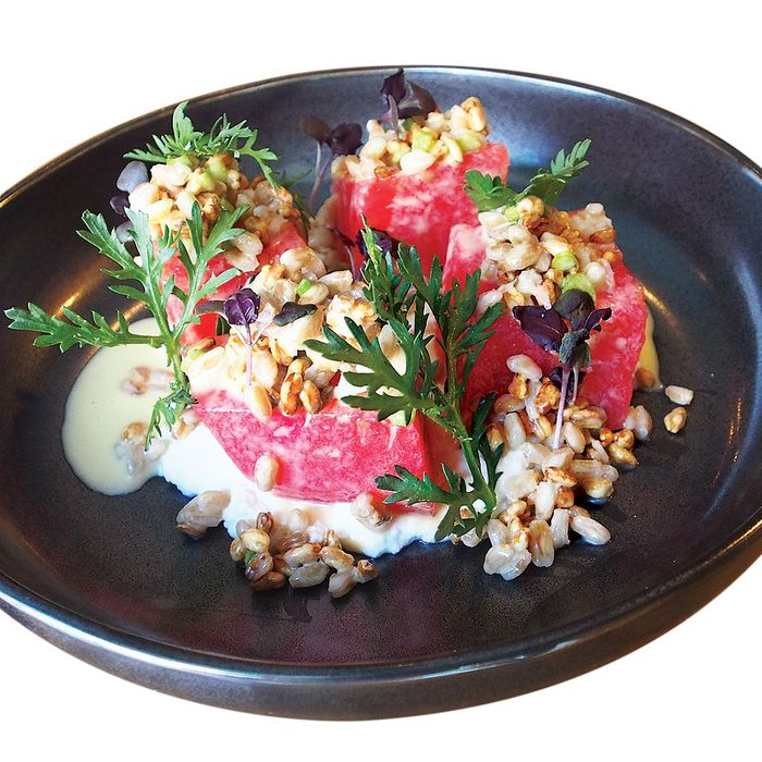 Watermelon garnished with ricotta, crispy farro, and chrysanthemum.