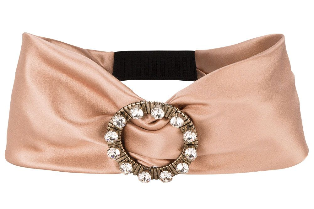 Miu Miu pink crystal buckle headband