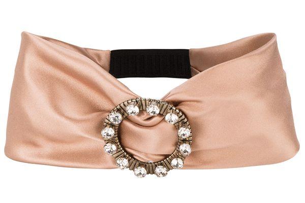 Miu Miu pink crystal buckle headband