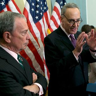 WASHINGTON, DC - NOVEMBER 28: New York City Mayor Michael Bloomberg (L) holds a press conference with U.S. Sen. Charles Schumer (D-NY) (C) and U.S. Sen. Kirsten Gillibrand (D-NY) (R) at the U.S. Capitol November 28, 2012 in Washington, DC. Bloomberg and the two senators from New York met to discuss New York City's Hurricane Sandy Federal Aid Request. (Photo by Win McNamee/Getty Images)