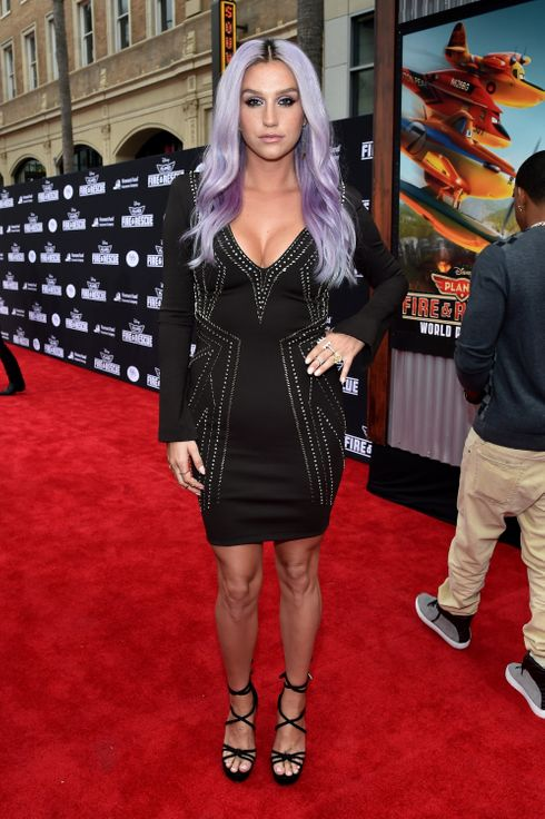 "HOLLYWOOD, CA - JULY 15:  Singer/songwriter Kesha attends World Premiere Of Disney's ""Planes: Fire & Rescue"" at the El Capitan Theatre on July 15, 2014 in Hollywood, California.  (Photo by Alberto E. Rodriguez/Getty Images for Disney)"