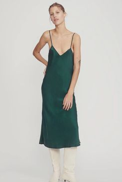 Silk Laundry 90s Silk Slip Dress Emerald