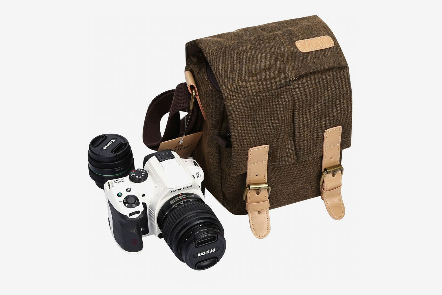 S-ZONE Vintage Small Waterproof Canvas Leather Trim DSLR Camera  Bag, Brown
