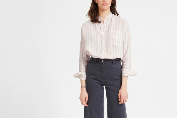 Everlane Linen Oversized Collarless Shirt