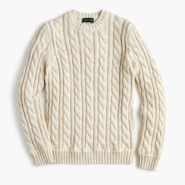 J.Crew Always Cotton Cable-Knit Crewneck Sweater