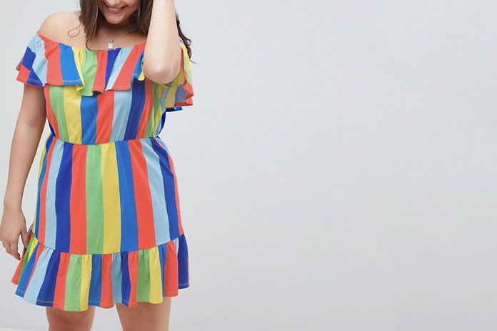 98cfca3e3a7 ASOS DESIGN Curve off shoulder sundress with tiered skirt in rainbow stripe