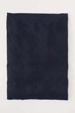 Jacquard-Weave Duvet Cover (Navy)