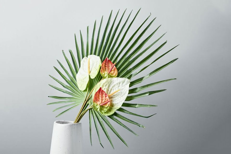 Metaflora Faux Fan Palm + Anthurium Bouquet
