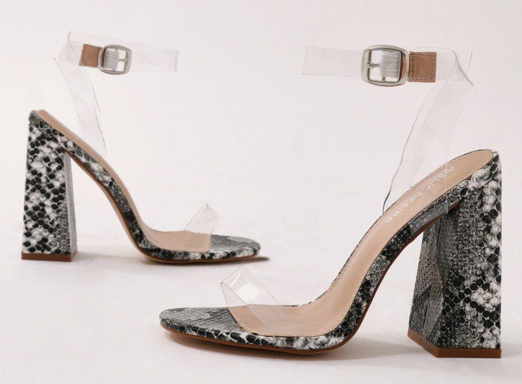 Charlotte Perspex High Heels in Grey Faux Snake