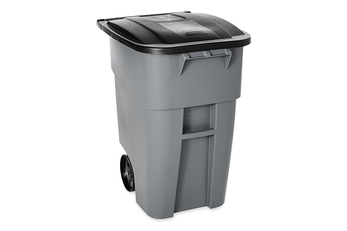Rubbermaid Commercial Brute Recycler Rollout Trash Can With Hinged Lid, 50-Gallon