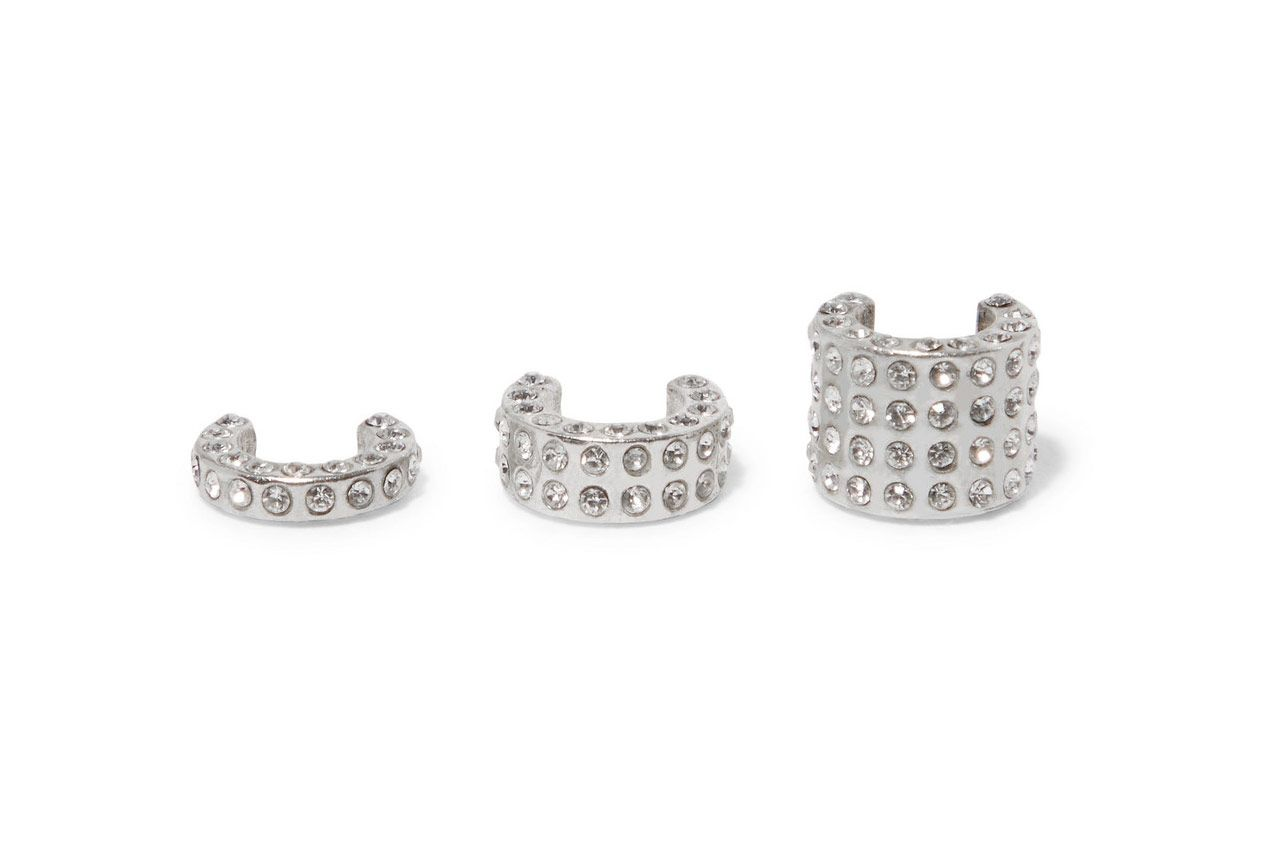 MAGDA BUTRYM Mali set of three silver-tone cubic zirconia ear cuffs