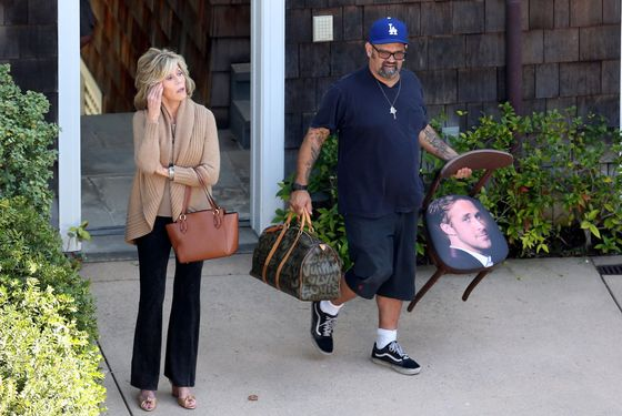 Jane Fonda wears a leg brace between takes on the set of 'Grace and Frankie'.  Fonda took the weight of her feet in between takes of the upcoming tv show which co-stars Martin Sheen and Brooklyn Decker. Jane, who plays Grace in the show, was seen carrying luggage and a chair with Ryan Gosling's face on the seat cover, into a house in Malibu. Fonda waved to fans who had pulled over on the Pacific Coast Highway to try and catch a glimpse of the star. <P> Pictured: Jane Fonda <P><B>Ref: SPL817304  070814  </B><BR/> Picture by: Splash News<BR/> </P><P> <B>Splash News and Pictures</B><BR/> Los Angeles:	310-821-2666<BR/> New York:	212-619-2666<BR/> London:	870-934-2666<BR/> photodesk@splashnews.com<BR/> </P>