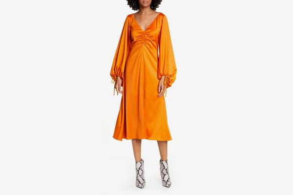 Staud Sofia Long Balloon Sleeve Midi Dress