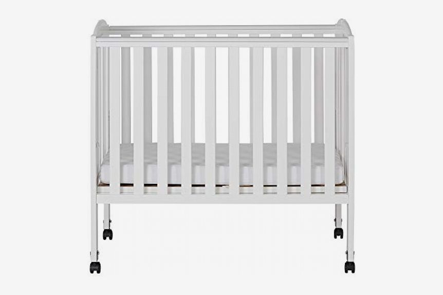 Dream On Me 2-in-1 Portable Folding Stationary Side Crib, White