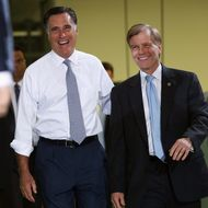 STERLING, VA - JUNE 27:  Republican Presidential candidate, former Massachusetts Governor Mitt Romney (L) arrives with Virginia Gov. Bob McDonnell (R) during a campaign event at the Electronic Instrumentation and Technology company June 27, 2012 in Sterling, Virginia. A recent poll released today shows Romney leading U.S. President Barack Obama in the critical swing state of Virginia by a margin of 5 percentage points.  (Photo by Win McNamee/Getty Images)