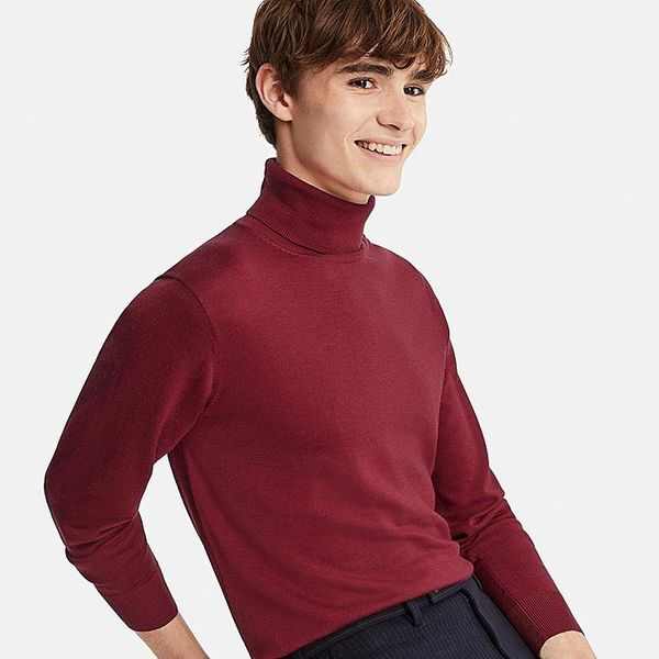 Men's Extra Fine Merino Turtleneck Long-sleeve Sweater