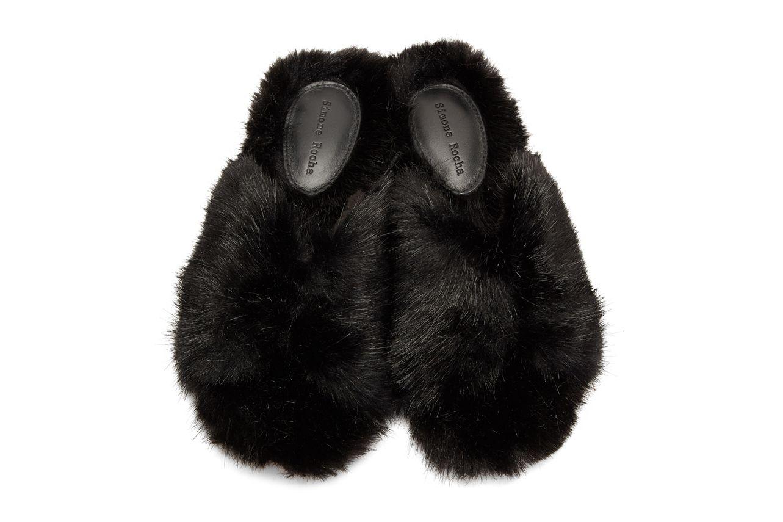 Simone Rocha Black Faux-Fur Bow Mules
