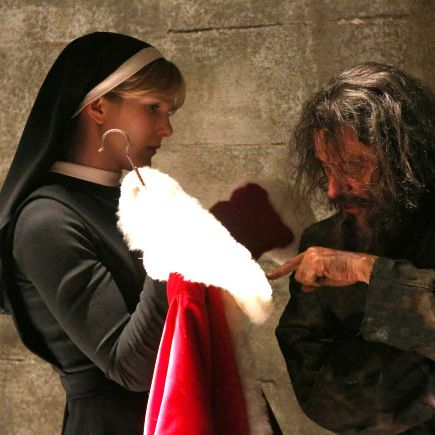 AMERICAN HORROR STORY Unholy Night -- Episode 208 (Airs Wednesday, December 5, 10:00 pm e/p) -- Pictured: (L-R) Lily Rabe as Sister Eunice, Ian McShane as Leigh