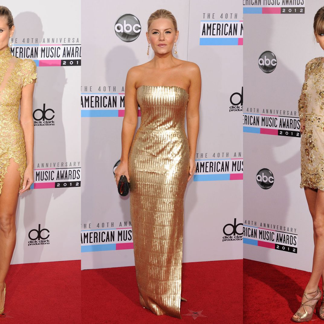 dbe61b60ea Gold Sequins Everywhere on the AMA Red Carpet