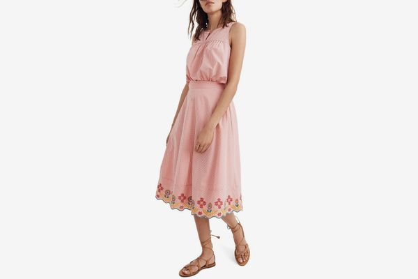 Madewell Embroidered Gingham Circle Skirt