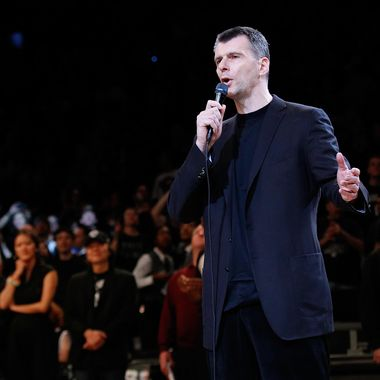 Brooklyn Nets Owner Mikhail Prokhorov speaks to the crowd prior to the game between the Brooklyn Nets and the Chicago Bulls during Game One of the Eastern Conference Quarterfinals of the 2013 NBA Playoffs at Barclays Center on April 20, 2013 in New York City.