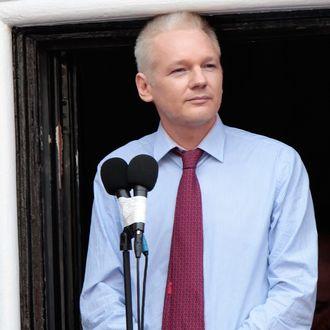 Wikileaks founder Julian Assange is seen on the balcony of the Equador embassy in Knightsbridge on August 19, 2012 in London, England.