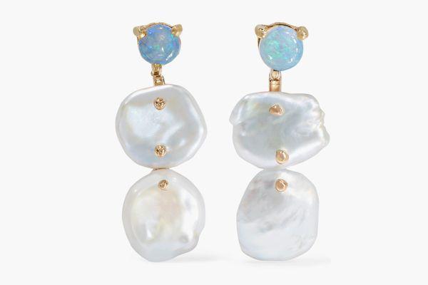 WWAKE + NET SUSTAINGold, Pearl, and Opal Earrings