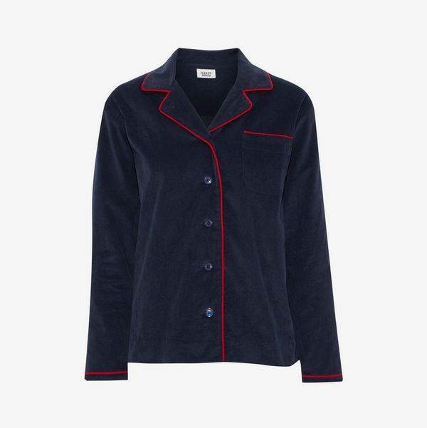 Cotton-Corduroy Pajama Shirt - strategist best dark blue pajama top with red trim and button front