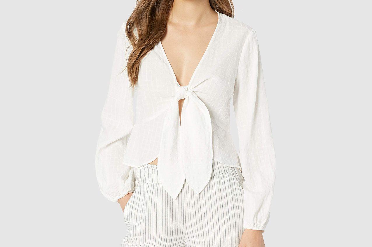 The Fifth Label Women's Hazel Tie Front Long Sleeve Crop Top Shirt