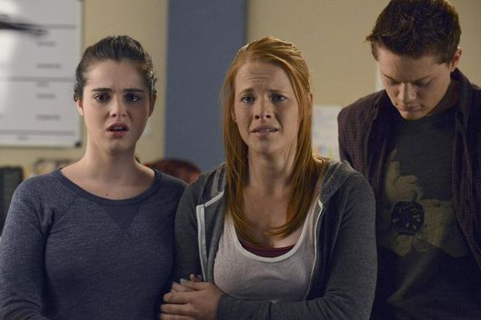 "SWITCHED AT BIRTH - ""The Image Disappears"" - A terrible accident has left someone in the hospital in an all-new episode of ""Switched at Birth,"" airing Monday, July 14 at 8:00PM ET/PT on ABC Family. (ABC FAMILY/Eric McCandless)VANESSA MARANO, KATIE LECLERC, SEAN BERDY"