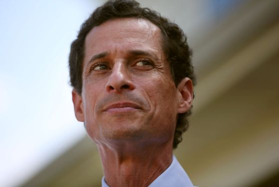 NEW YORK, NY - JULY 26:  Anthony Weiner, a leading candidate for New York City mayor, speaks with reporters in Staten Island on a visit to homes damaged by Hurricane Sandy on July 26, 2013 in New York City. It was recently revealed that Weiner engaged in lewd online conversations with a woman after he resigned from Congress for similar previous incidents.  (Photo by Spencer Platt/Getty Images)