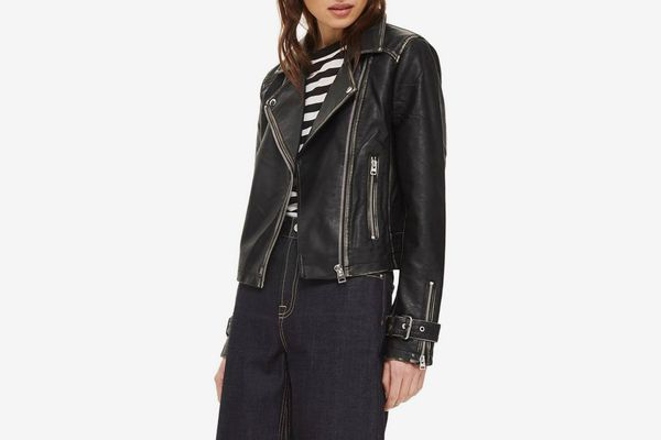 Topshop Washed Wolf Zipper Moto Jacket