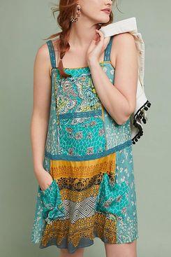 Scarf-Printed Tunic Dress