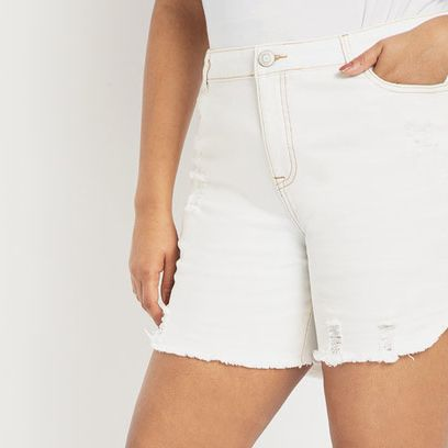 Eloquii Distressed-Denim Shorts
