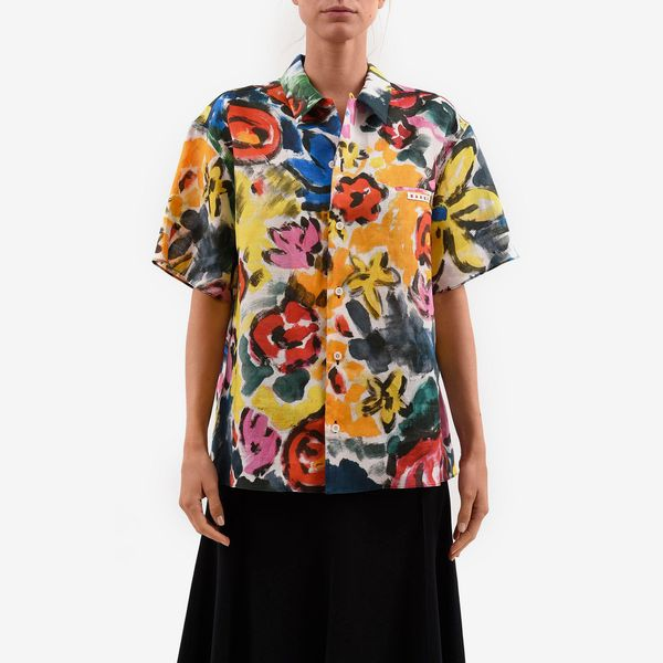 Marni Floral Print Ramie Button-Up Shirt
