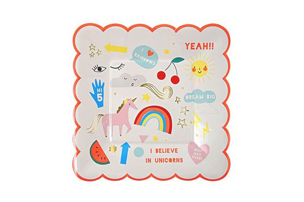 Meri Meri Party Pack Unicorn Small Plate and Rainbow Small Napkin (8 Plates and 20 Napkins)