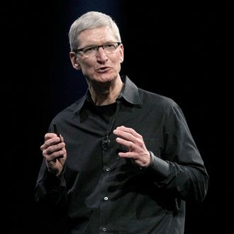 Apple CEO Tim Cook delivers the keynote address at the Apple 2012 World Wide Developers Conference (WWDC) at Moscone West on June 11, 2012 in San Francisco, California.