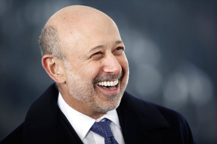 Lloyd Blankfein, chief executive officer of Goldman Sachs Group Inc., reacts during a Bloomberg Television interview on day three of the World Economic Forum (WEF) in Davos, Switzerland, on Friday, Jan. 24, 2014.