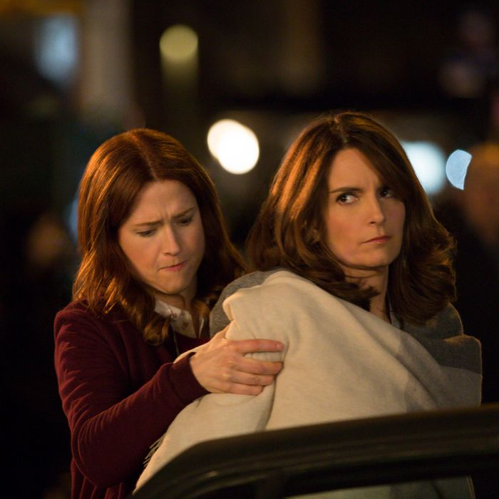 Ellie Kemper as Kimmy, Tina Fey as Andrea.