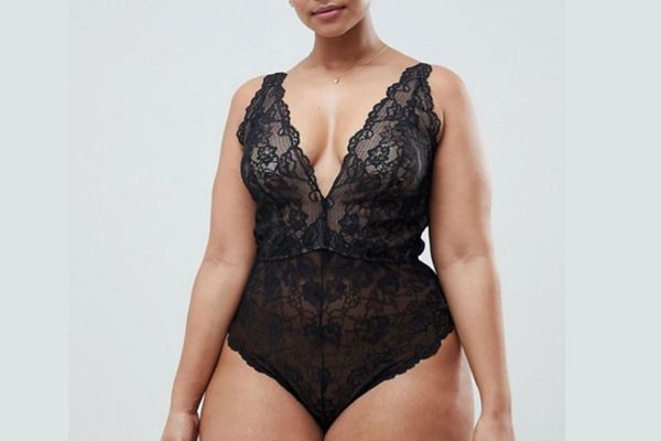 Curve Blair High Leg Lace Body with Lace Up Back