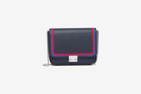 Loeffler Randall Ribbon Trim Leather Shoulder Bag