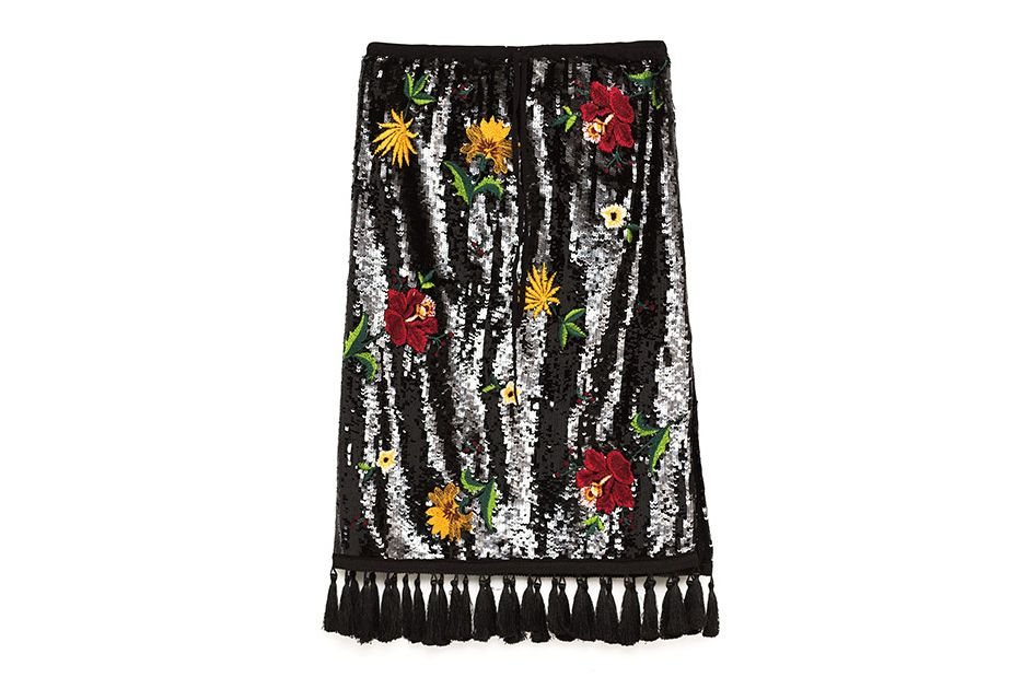 Zara midi embroidered skirt