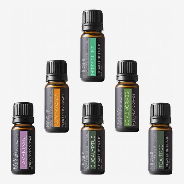 Kis Oils Aromatherapy Therapeutic Grade Basic Sampler Essential Oil Gift Set (lavender, sweet orange, peppermint, lemongrass, tea tree, eucalyptus)
