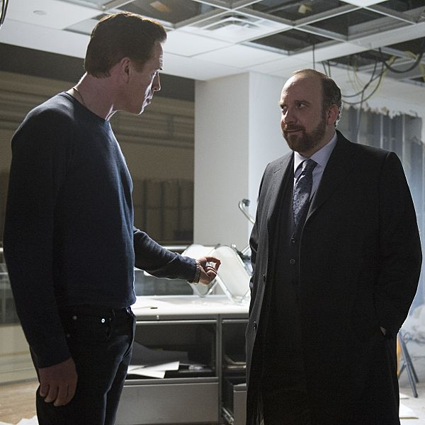 Damian Lewis as Axe, Paul Giamatti as Chuck.